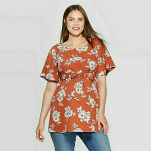 ISABEL MATERNITY SHORT SLEEVE TUNIC TOP